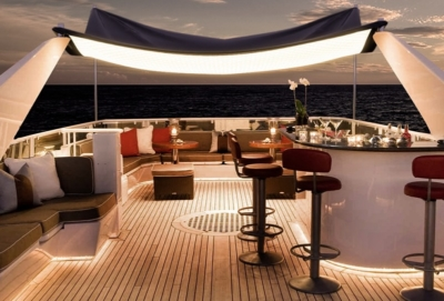Picture showing Light Curtains used as top ceiling on outdoor yacht deck.