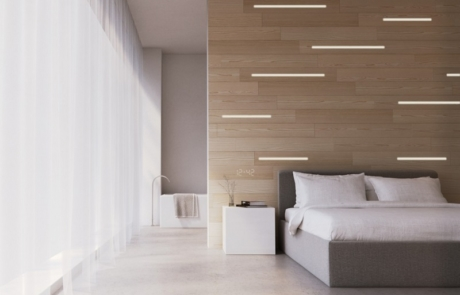 Picture of integrated lighting installation in wood decor panels