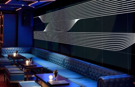 Image by Luminous Concepts showing installation of Lighting Wall paper in club Prague