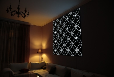Image by Luminous Concepts showing installation of Lighting Wall paper in residential area