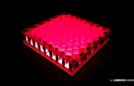 Image of decorative optical plastics material stack with Hexagon array by Luminous Concepts