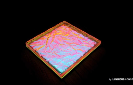 Image of lava-like tile featuring optically cracked surface backlighted by Luminous Concepts