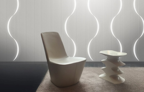 Picture showing Lighting Wall paper installation by Luminous Concepts. Design by XTEND Design London.