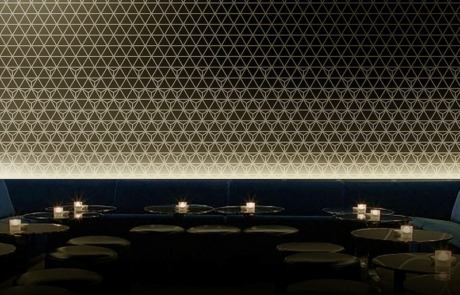 Image by Luminous Concepts showing installation of Lighting Wall paper in bar area