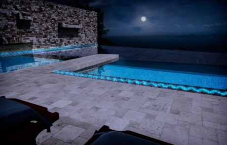 Image by Luminous Concepts showing installation of Luminous Tiles in outdoor pool area
