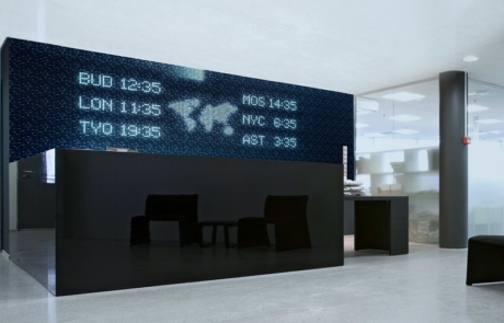 Image by Luminous Concepts showing installation of Luminous Tiles in reception area