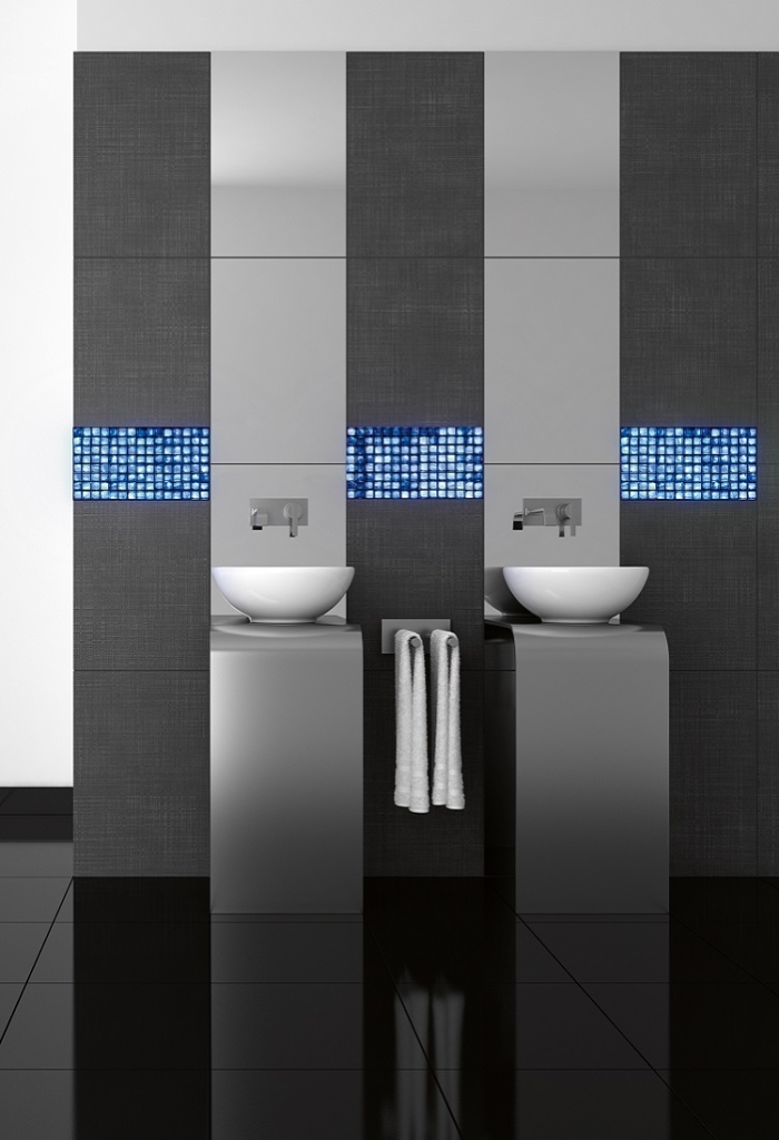 Image of volatiles installed in a bathroom project above sinks