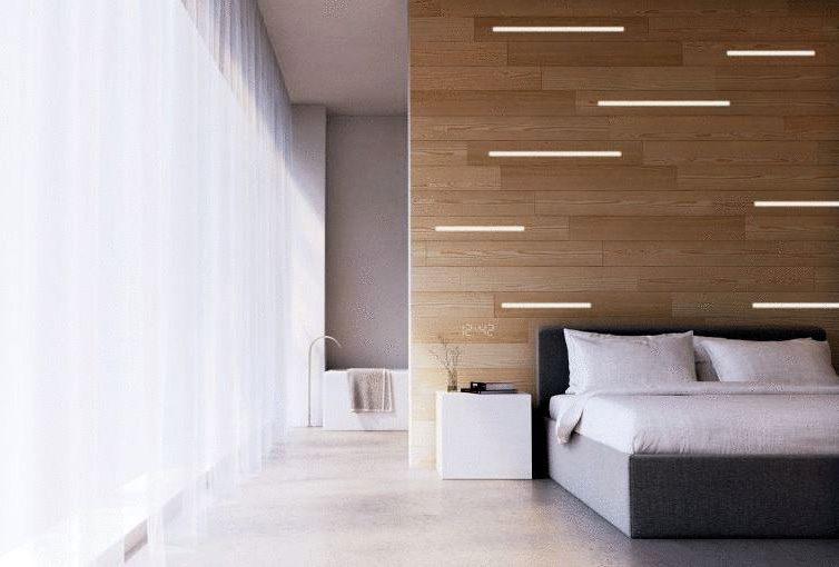 Image of light integrated in wood panels in bedroom environment