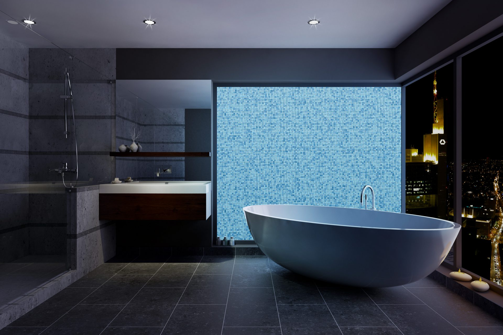 Image of a bathroom with bathtub and citysky view showing a pattern of blueish volatiles mosaics