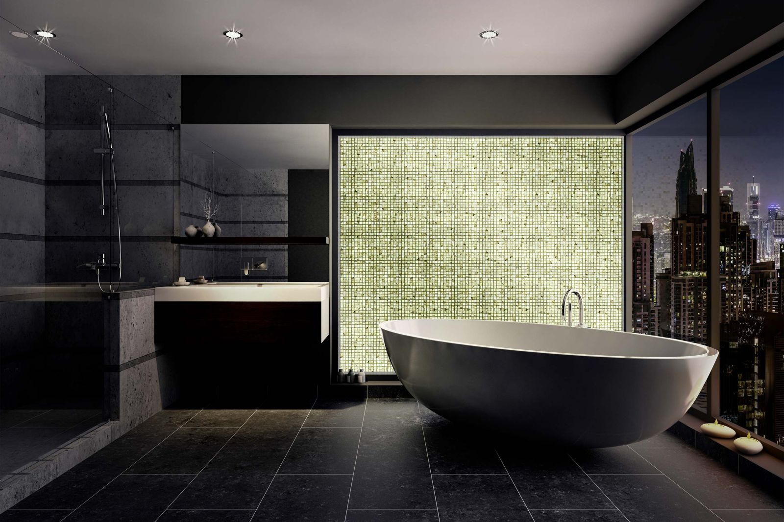 Image of a bathroom with bathtub and citysky view showing a pattern of greenish volatiles mosaics