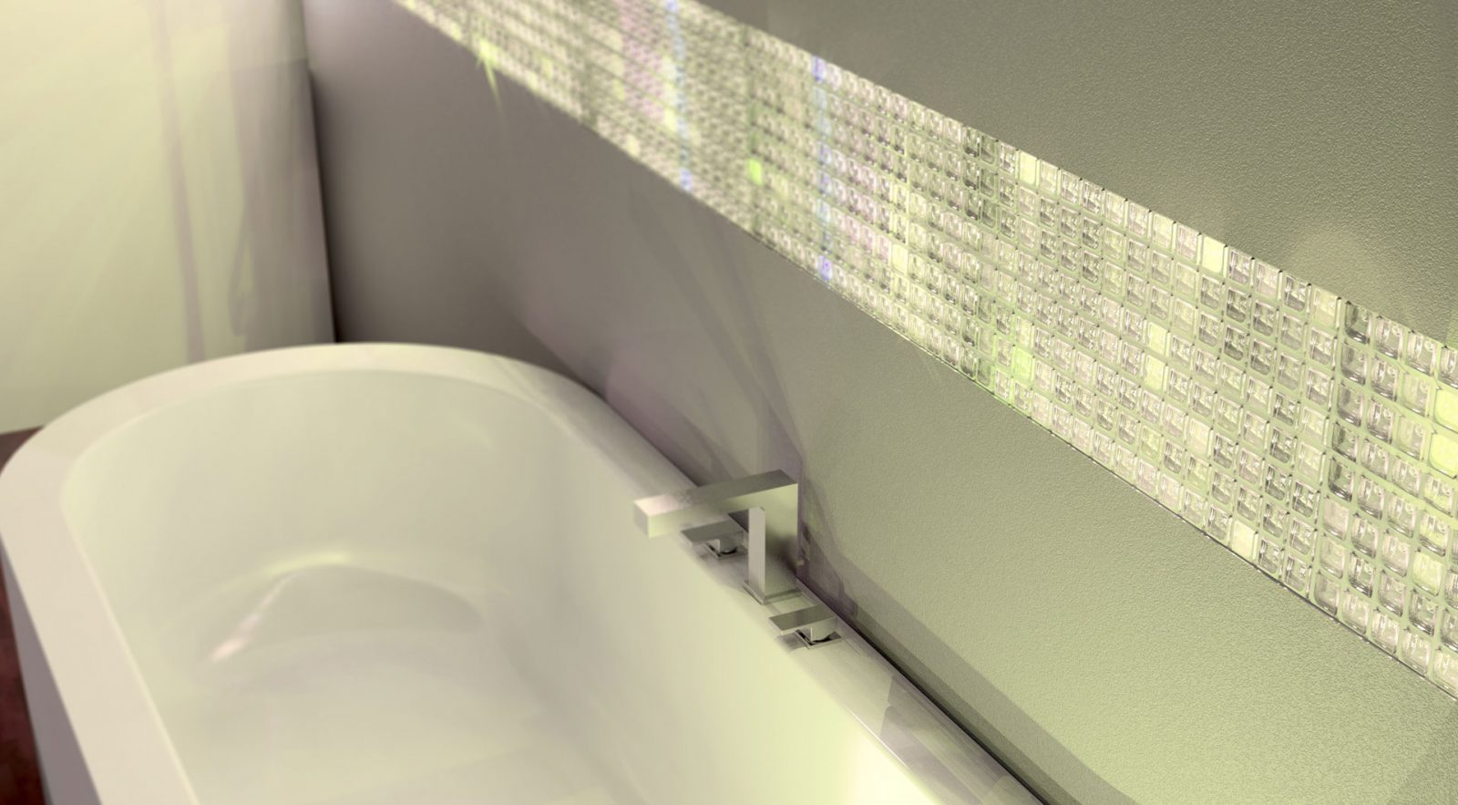 Image showing translucent volatiles installed right above the bath tub