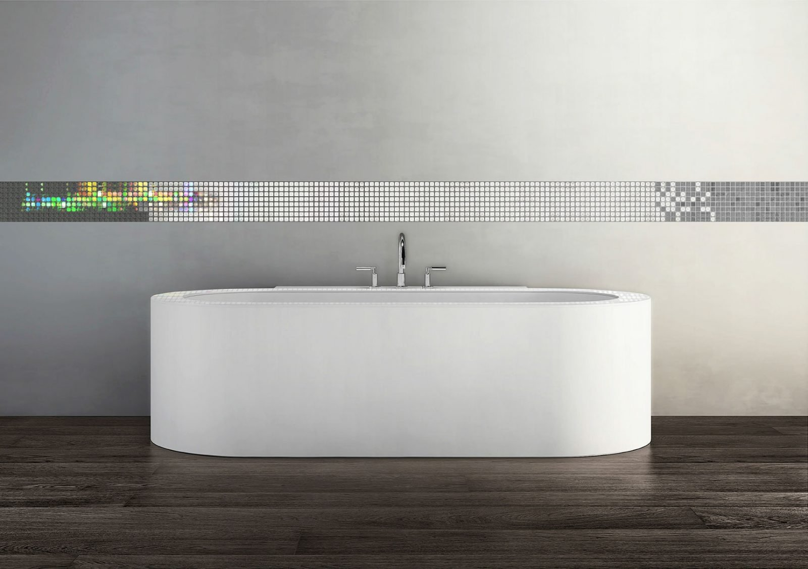 Image of a bathroom environment with volatiles mosaic tiles installed in an elegant smart line above the bath tub
