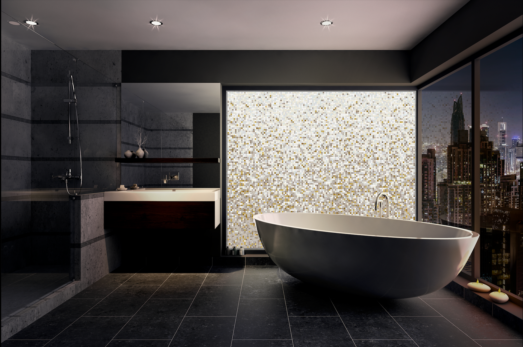 Image of a bathroom with bathtub and citysky view showing a pattern of warm white volatiles mosaics
